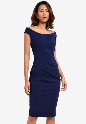 Goddiva navy Fitted Midi Dress With Pleating Detail 88C22AAAE8262AGS_1