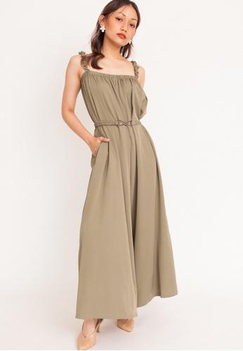 Hook Clothing green Wide Cut Long Jumpsuit 8B6BCAAAD687C3GS_1