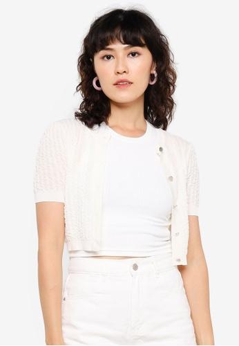 Urban Revivo white Textured Cropped Cardigan 2745EAA6596CDEGS_1