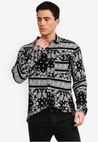 Cotton On 黑色 變形蟲印花襯衫 8CEC7AAFC63E76GS_1