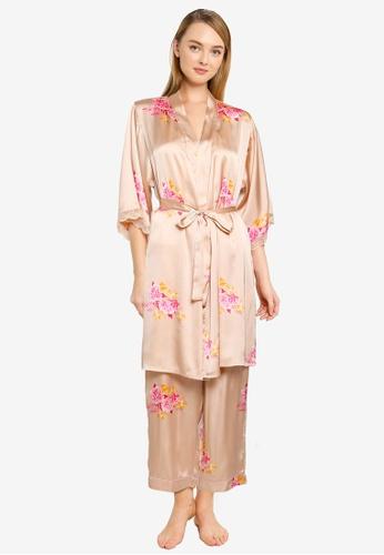 Vero Moda brown and beige Heide Nightwear Kimono BB359AA584B3ADGS_1
