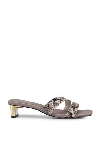 nose beige Faux Python Strappy Metal Heel Sliders DBC94SH2101414GS_1