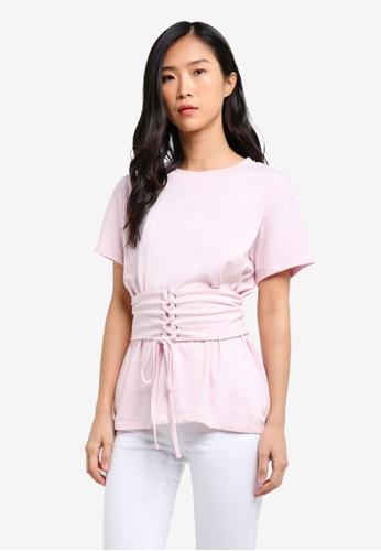 Supre pink Corset Belt Tee SU225AA0RWXAMY_1
