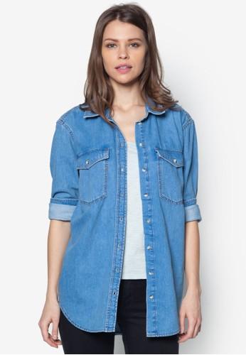 MOTOzalora時尚購物網評價 寬版丹寧襯衫, 服飾, 服飾