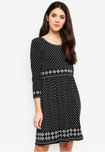 Max Studio black Printed Matte Jersey Dress 1CF76AAEB4D992GS_1
