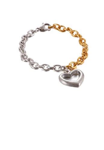 Glamorousky silver Fashion Simple Hollow Heart Shaped Two-tone 316L Stainless Steel Bracelet 66A2AAC016B569GS_1