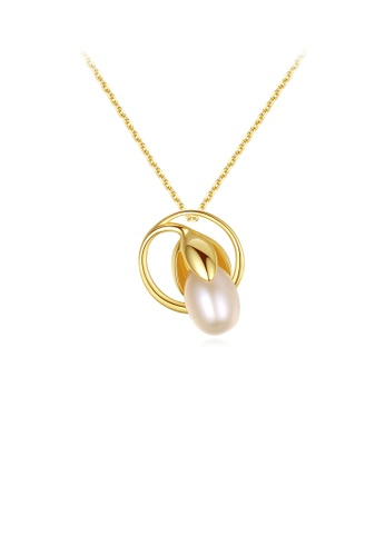 Glamorousky 粉紅色 925純銀鍍金色時尚氣質花蕾粉色淡水珍珠吊墜配項鏈 3C978AC7F79B11GS_1