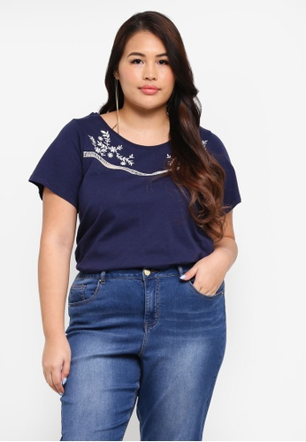 Dorothy Perkins navy Plus Size Embroidered Lace Top 37786AA0021280GS_1