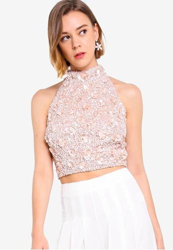 ec2931c8b2da3 Buy Lace & Beads High Neck Embellished Top Online   ZALORA Malaysia