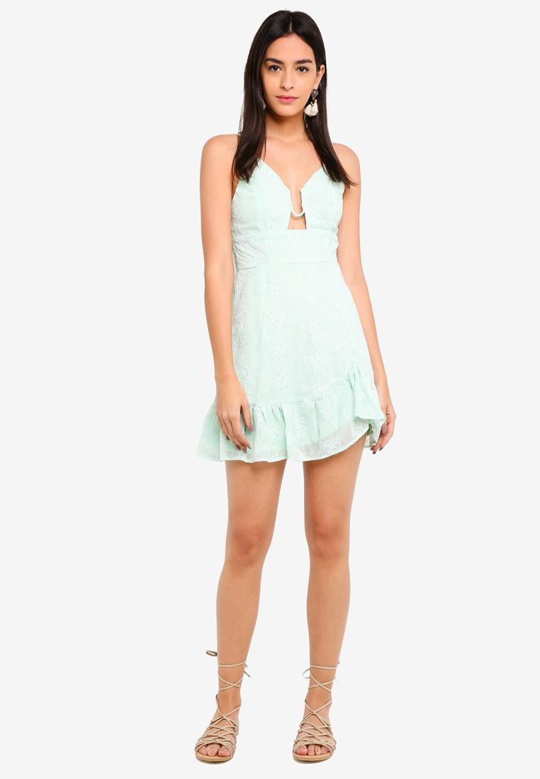 Mint INDIKAH Sleeveless Dress Hem Mini Ruffle XwFqzPBvx