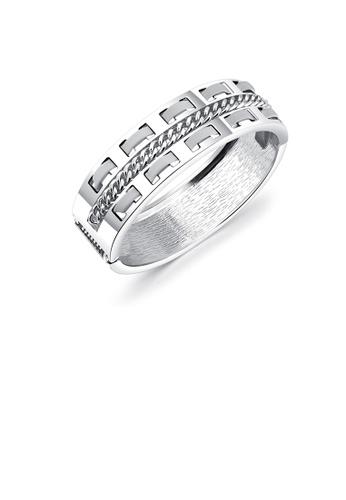 Glamorousky silver Fashion Temperament Wide Version Hollow Geometric Bangle 13832AC95F865AGS_1