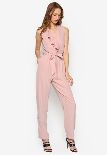 Miss Selfridge pink Pink Waterfall Jumpsuit MI665AA15ZOEMY_1