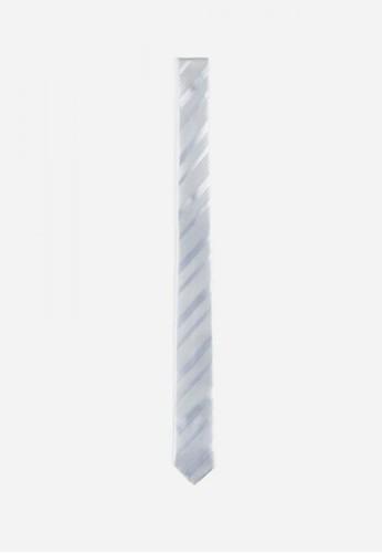 斜條紋領帶-05164-白, 飾品配esprit outlet 高雄件, 領帶
