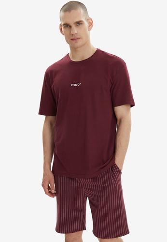 Trendyol red Slogan Knitted Pajama Set 6B89CAACAEA235GS_1