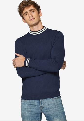 ESPRIT 海軍藍色 撞色滾邊針織毛衣 FD065AA0984787GS_1