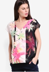 Wallis pink and multi Pink Floral Double Layer Top WA800AA68GWHMY_1