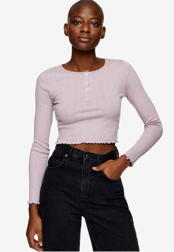 TOPSHOP pink Pink Long Sleeve Button Through Top F4562AAF6B456EGS_1