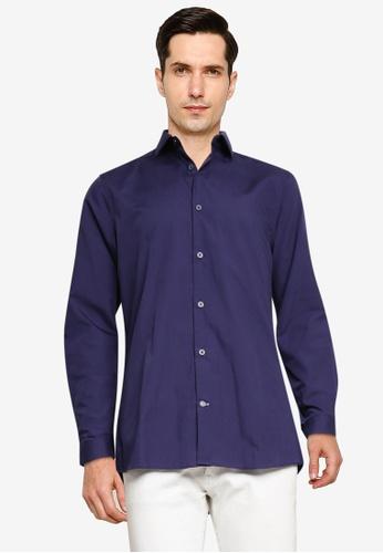 Burton Menswear London navy Navy Essential Skinny Shirt 49C9FAA087A6ECGS_1