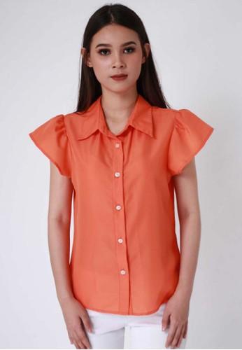 United Concepts orange Ruffled Sleeves 'Isla' Top A7CF7AA76EDE32GS_1