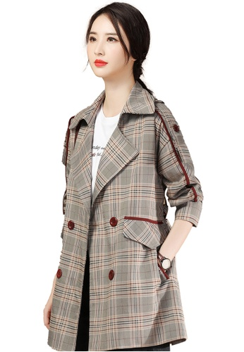 A-IN GIRLS multi Temperament Check Lapel Trench Coat AE0D9AA3BE53CAGS_1