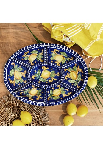 Living DNA Lemon Ceramic 8pc Chip and Dip Platter Blue A80A9HLCC1BB70GS_1