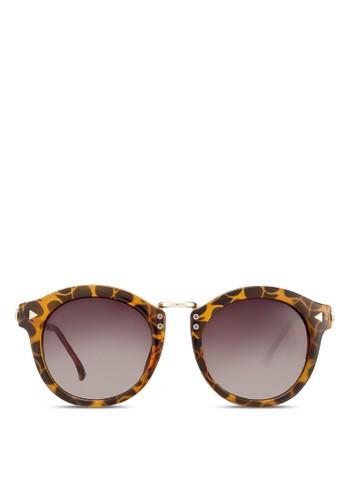 豹紋圓zalora 內衣框太陽眼鏡, 飾品配件, 復古框