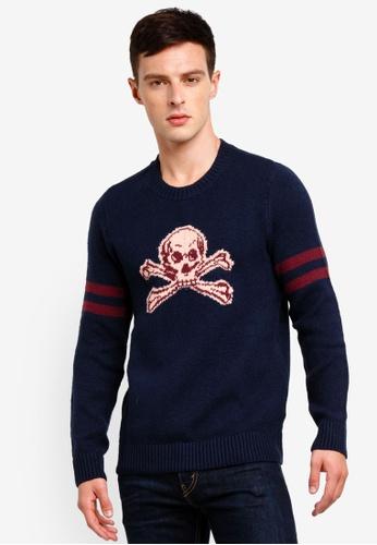 Abercrombie & Fitch 海軍藍色 印花圓領針織上衣 6CD43AAB866585GS_1