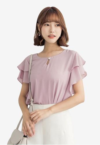 Tokichoi pink Chiffon Ruffled Sleeve Blouse F9D6EAAAFA8104GS_1