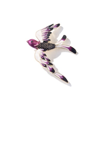 Glamorousky black Fashion and Elegant Purple Swallow Brooch with Cubic Zirconia 32987ACE2AB04CGS_1