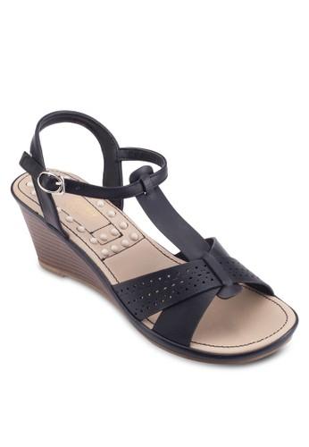 交叉T 字帶楔型跟涼鞋, 女鞋, salon esprit 香港楔形涼鞋