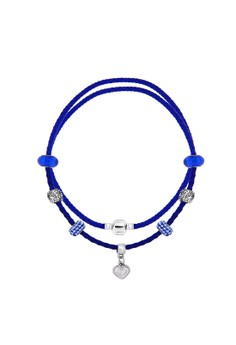 Treasure by B&D DBY018 Stylish Heart Leather Chain & Imitation Sapphire Lucky Beads DIY Bracele(Silver Pleated)