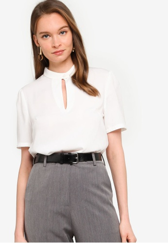 ZALORA WORK white Stand Collar Keyhole Top CB201AAEFA4178GS_1