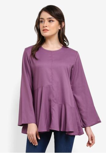 Aqeela Muslimah Wear purple Qhalisha Block Panel Top AQ371AA0SEHSMY_1