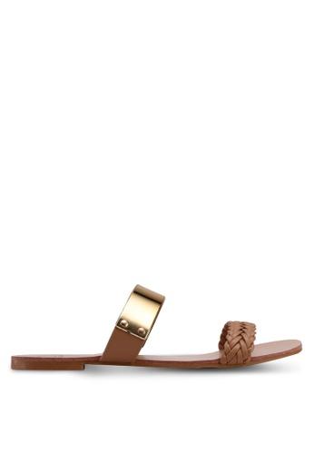 Carlton London brown Double Strap Sandals 105ECSH61B156CGS_1