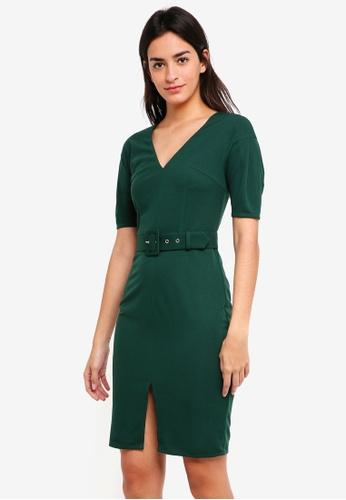 ZALORA green Drop Shoulder Midi Dress DB347AABE60F3BGS_1