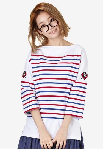 Popeye esprit 京站Chouette 七分袖條紋TEE, 服飾, 印花時代