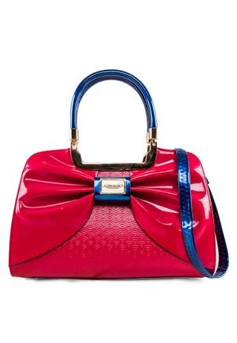 蝴蝶結撞esprit 高雄色漆皮手提包, 包, 飾品配件