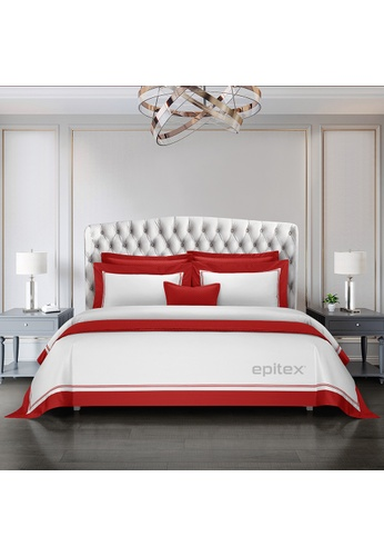 Epitex white and red Cressent Dale Signature Collection CR2302-08 1600TC White / Red Supremely Egyptian Cotton 7698AHL9F35003GS_1