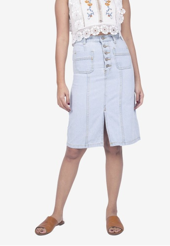 Caoros blue Button Down Light Denim Skirt ADFD6AA9A64C1FGS_1