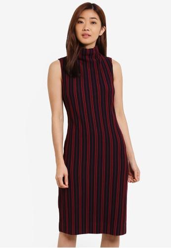 ZALORA red Stripe High Neck Dress 8C9D9ZZ01FEABDGS_1