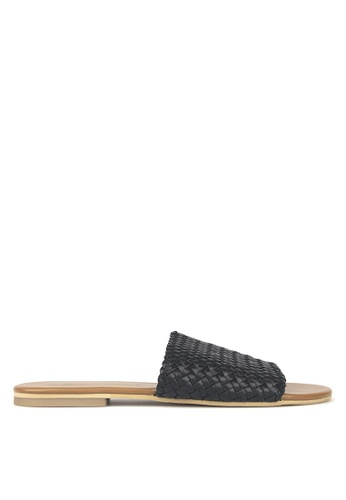 Betts black Vista Woven Leather Slides 4F452SHE199A9CGS_1