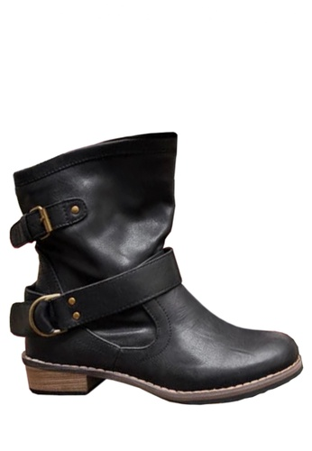 Twenty Eight Shoes black Buckle Belt Mid Boots VB8809 FB05CSHA0A7263GS_1