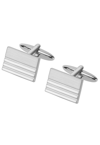 CUFF IT silver Shiny and Brush Silver Rectangle Cufflinks B80CAAC260941BGS_1