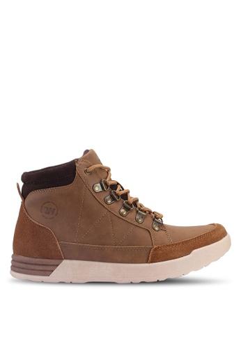 Weinbrenner 褐色 雙色拼接踝靴 BF745SHB18843CGS_1