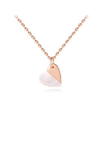 Glamorousky silver 925 Sterling Silver Plated Rose Gold Simple Romantic Two-tone Heart Pendant with Necklace 5394CAC5085027GS_1