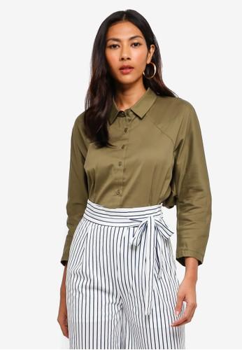 Hopeshow green Long Sleeve Button Shirt AF917AA330C13EGS_1