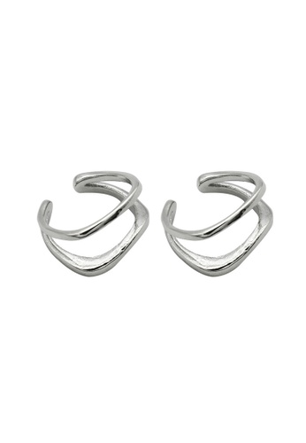 LYCKA silver LDR1204 S925 Silver Twin-layer Hollow Clip Earrings 9F8AAACD4E8F0FGS_1
