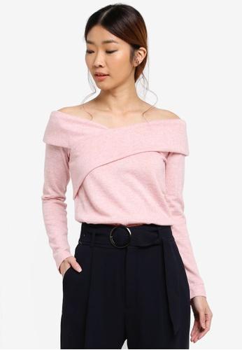 Dorothy Perkins pink Blush Bardot Cold Shoulder Top 0EF7EAA010B506GS_1