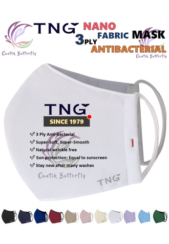 Cantik Butterfly white TNG 3 Ply Antibacterial Nano Fabric Mask Reusable (White) Set of 5 A7E85ES6A574F2GS_1