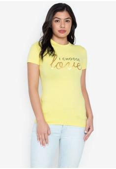 7995971414b6b Wear Kris yellow I Choose Love Crew Neck Tee 1B1D2AAE60483DGS 1